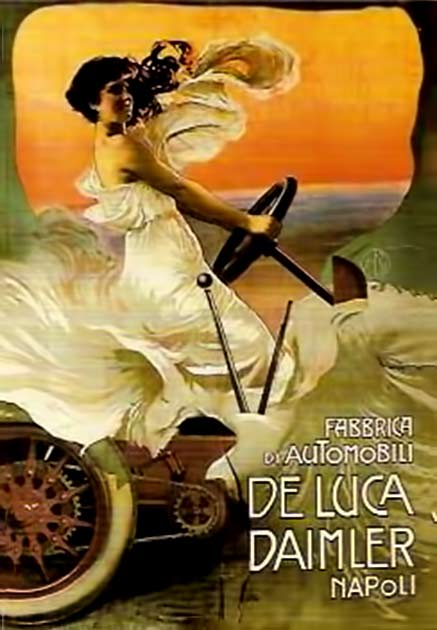 Art Nouveau poster of a woman in a white gown driving a vintage car