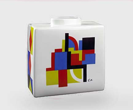 sonia-delaunay-limoges designed square ceramic bottle
