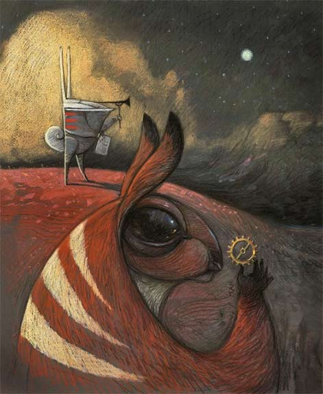 Two rabbits outdoors on a hill Shaun Tan