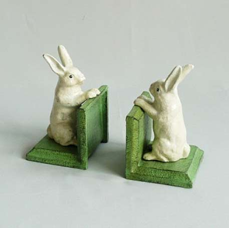 Westie-cast iron white bunny-bookends