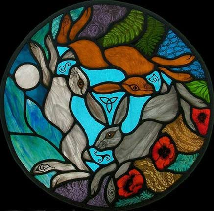 sacred three hares symbol stained glass