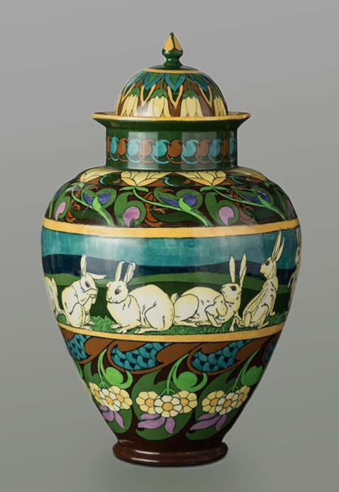 Rare Foley ware 'Intarsio' rabbit decorated ginger jar and cover, designed by Frederick Rhead,