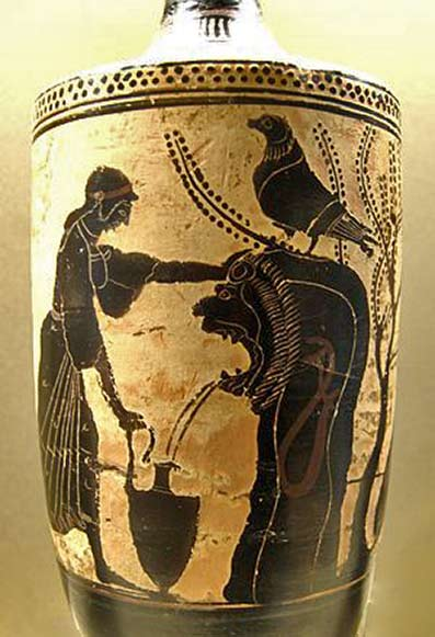 Polyxena at the fountain, watched out by Achilles (right). Attic white-ground lekythos, ca. 480 BC. From South Italy.
