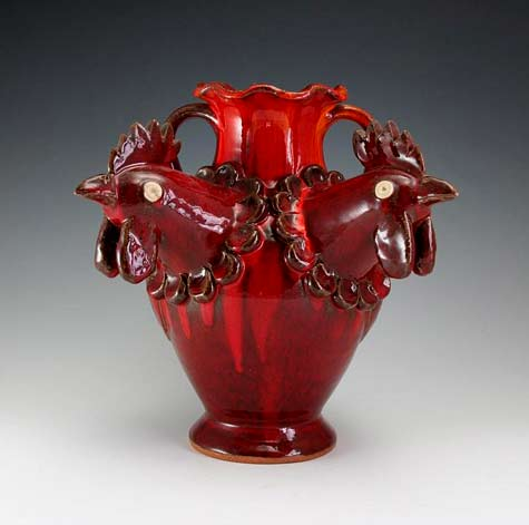 Red twin rooster head vase - AV Smith