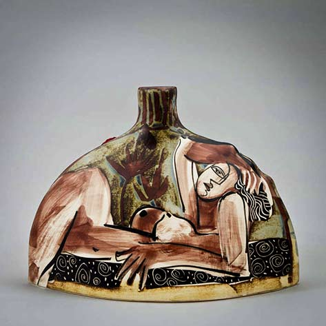 Alfajar-semi circular bottle with short spout and abstract female nude