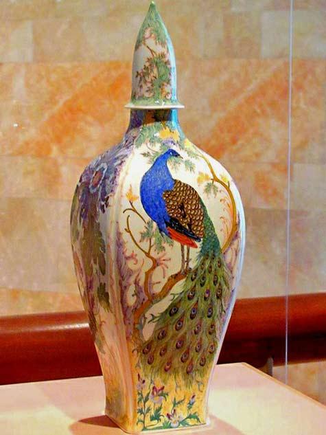 Samuel-Schellink-Art Nouveau peacock porcelain jar