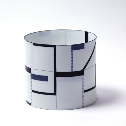 Bodil Manz-ceramic-cylindrical vessel with geometrical pattern decoration