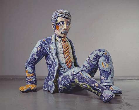 Viola-Frey falling man in a suit ceramic sculpture