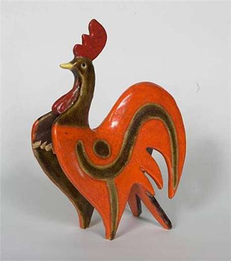 Gambone-Guido mid-century ceramic red rooster sculpture