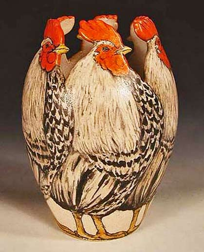 Rooster vase by Nan Hamilton