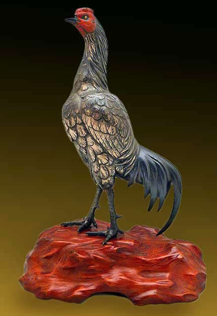 Meiji-multi-metal-Okimono---Rooster,on red rock