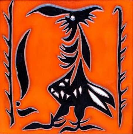 Jean Lucrat stylized rooster ceramic tile