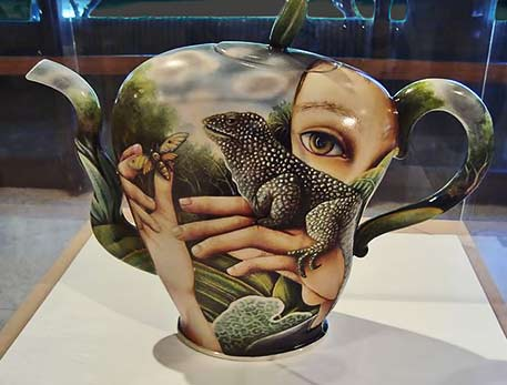 Kurt Weiser teapot with lizard and female face