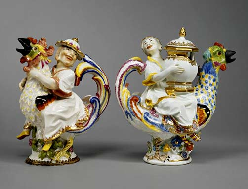 Meissen Cruet and Mustard Pot with male and female figures riding roosters