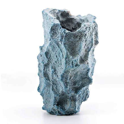 Michal-Fargo--ceramic-art Light blue rough texture vase