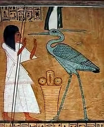 Papyrus-Painting-of-a-Benu-Bird being worshiped in Egypt