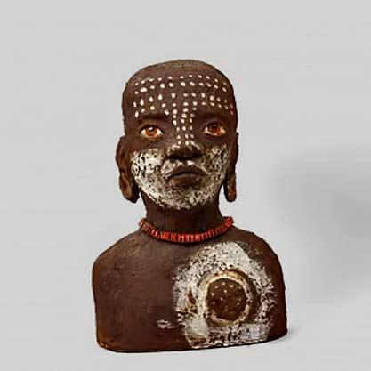 Teresa-Girones ceramic bust of an african boy