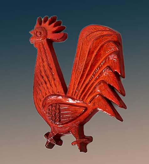 Wall-Mounted Large Red Glazed Ceramic Rooster Designed by Amphora, Belgium