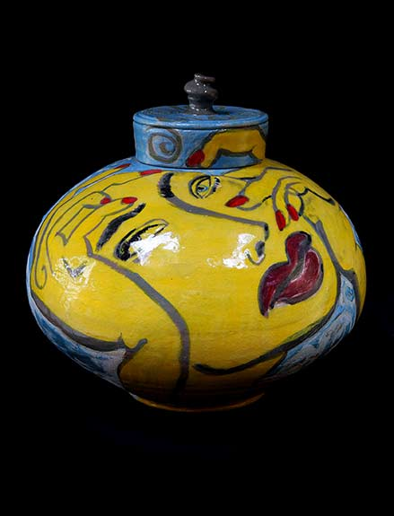 yellow. blue and red lidded jar - Mattie Leeds