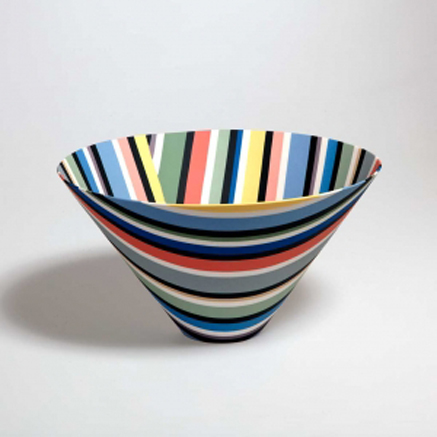 andreas-steinemann-ceramic-conical bowl polychrome stripes