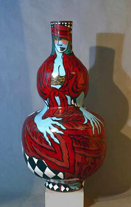 ceramic gourd vase by Mattie Leeds