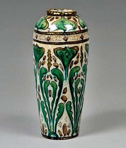 Andre-Metthey ceramic vase with foliate bands