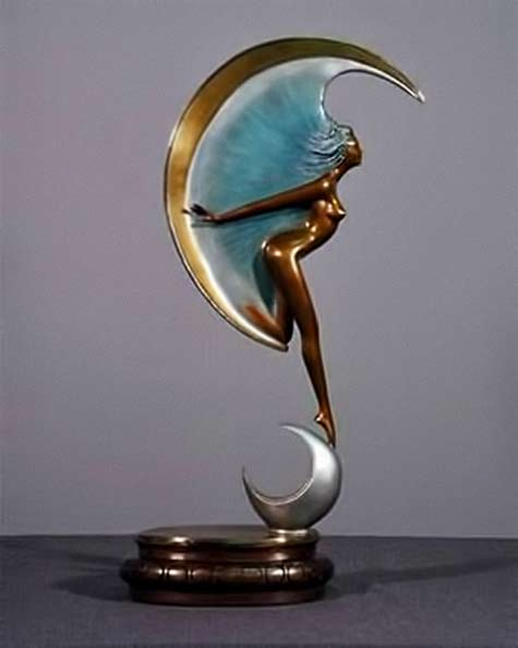 Angelo Basso Art Deco La Luna Sculpture Bronze female nude sculpture