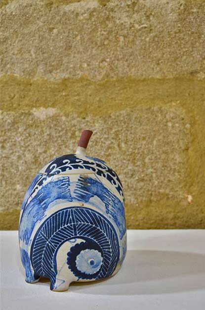 Chantal-Césure--blue on white lidded jar