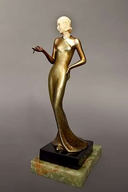 -Josef-Lorenzl.--stylish-lady-sculpture in gold gown