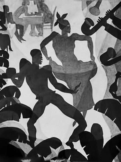 Aaron-Douglas drawing of black dancers