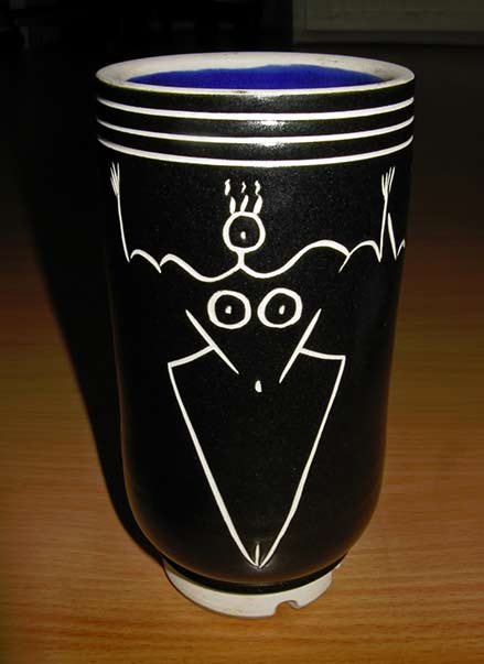 Eileen-Goldenberg Ceramic-Sgraffito vase with white figure on black