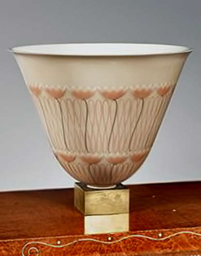 Emile Jacques Ruhlmann elegant art deco vase with pink floral design