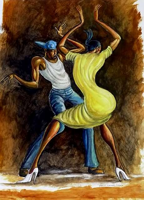 Ernie-Barnes painting of a dancing couple