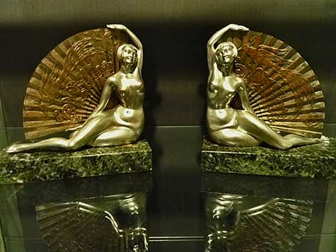 French-Art-Deco-reclining females with large fans Bookends