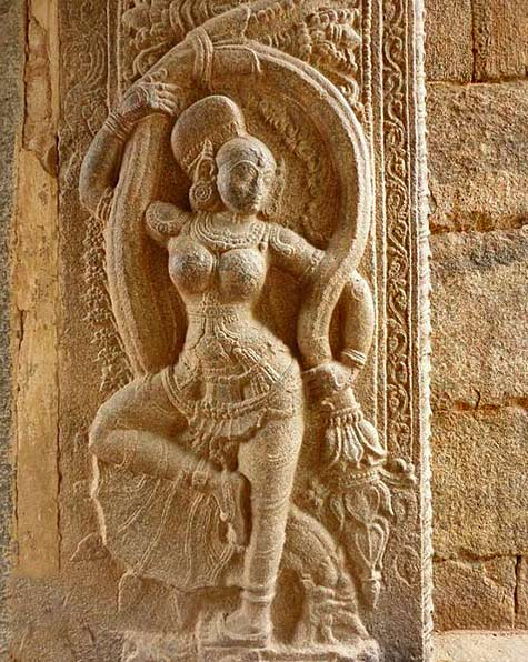 Kolaramma-Temple carved stone dancing lady