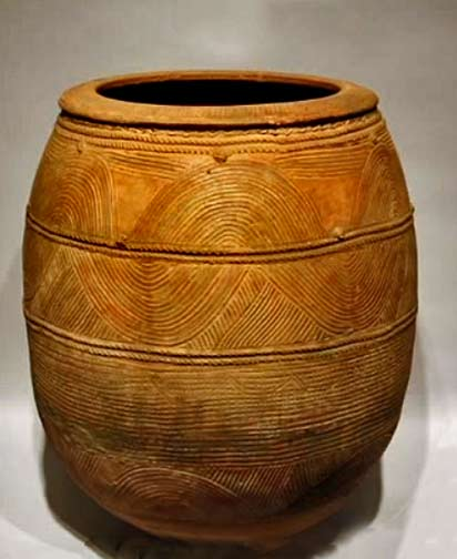 African terracotta pot with incised decoration