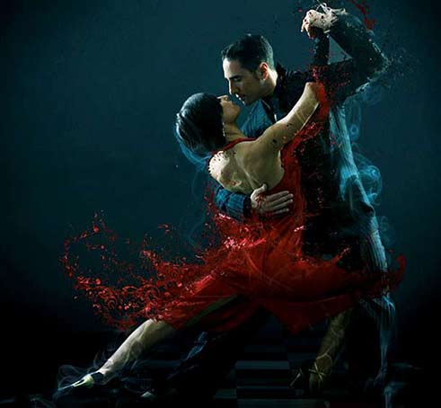 passionate tango dancing couple