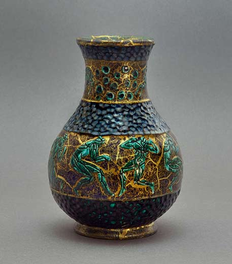 Jean-Mayadon-baluster-vase with green figures