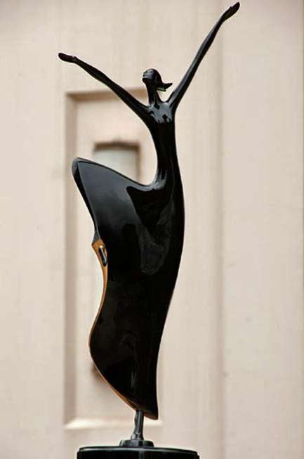 Joy Of The Dance - D.E. McDermott Lady dancing sculpture in black