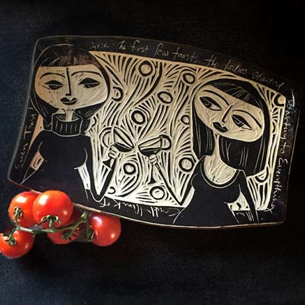 black and white sgraffito platter by stoneware-GravesCo---etsy