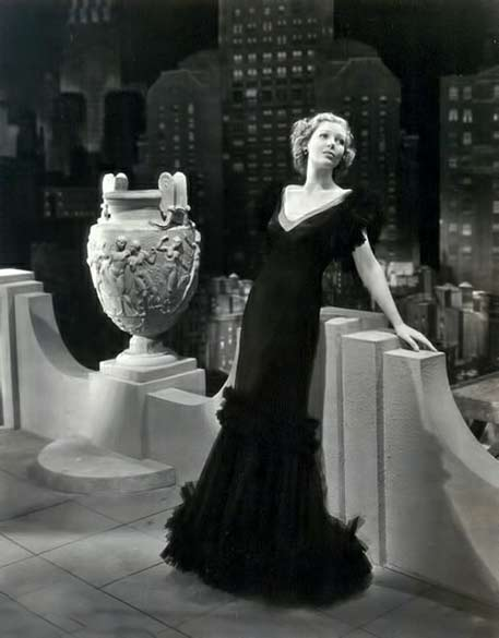 Loretta-Young in long black evening gown