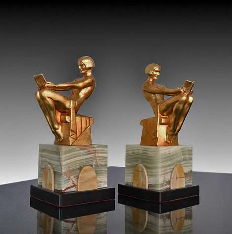 Max-Le-Verrier-art deco-bookends