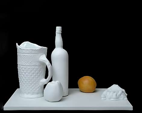 Classic still life presented with ceramics by George Segal