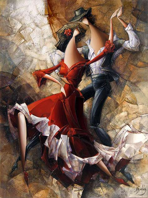 Nathan-Brutsky cubist abstract man and woman dancing