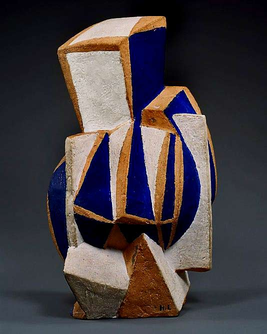 The-Guitar-Henri-Laurens cubist sculpture- blue, white and brown