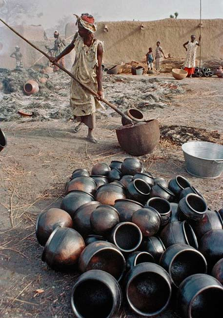 Large pottery firing pit in Mali