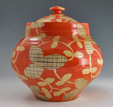 adero--willard_jar orange and brown-yellow floral