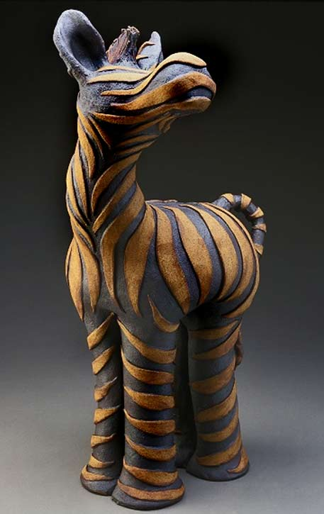 Sharon Stelter abstract ceramic Zebra sculpture