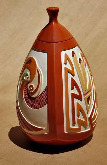 Al-Qoyawayma---Blue-Rain-Gallery lidded vessel with relief decoration