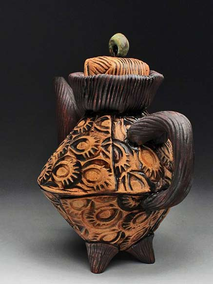 Amy-Sanders-orange and brown deep textured teapot